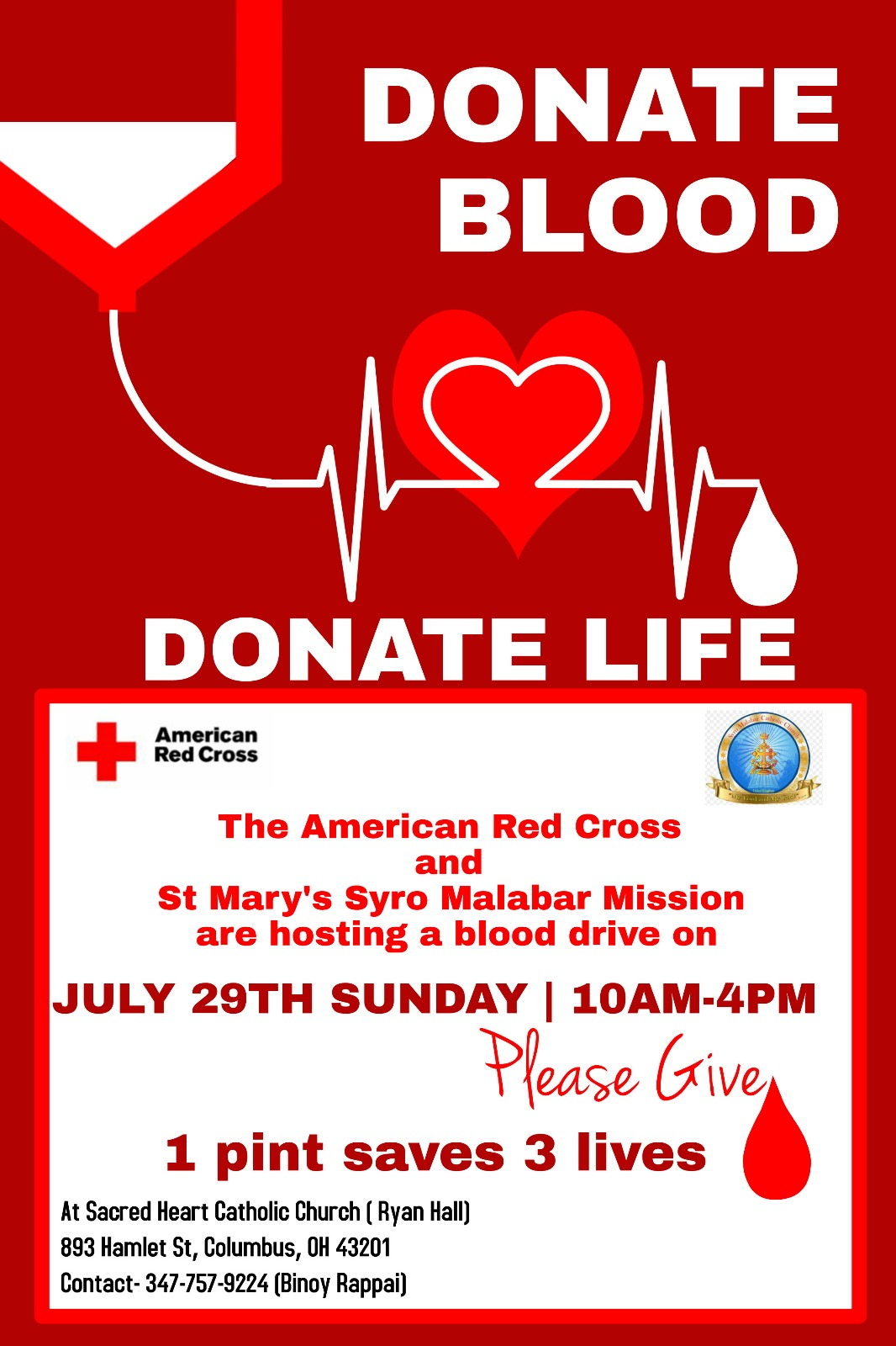 Christmas Blood Donation Drive.Blood Donation Drive July 29th 2018 St Mary S Syro